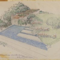 Rudolph Schindler: Barnsdall pool and pergola (Los Angeles, Calif.)