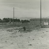 World War II Marine base and future site of the UC Santa Barbara campus: view of gymnasium and pool