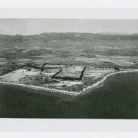 World War II Marine base and future site of UC Santa Barbara: aerial view of site and coastline